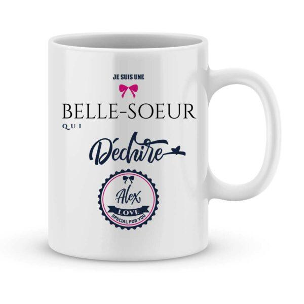 Mug personnalisé avec un prénom Belle-soeur qui déchire