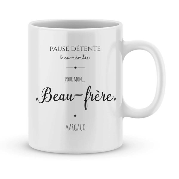 Mug personnalisé avec un prénom pause détente Beau-Frère
