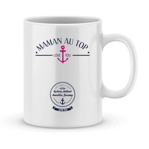 Mug personnalisé avec un prénom Maman au top