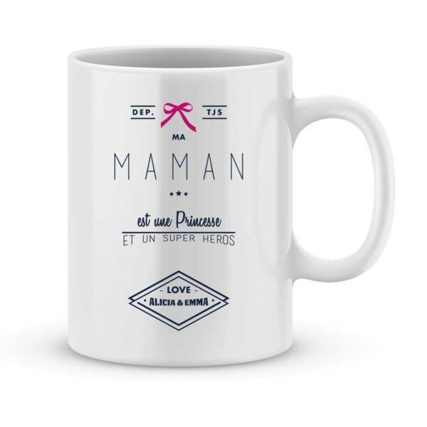 Mug personnalisé avec un prénom Maman est une princesse