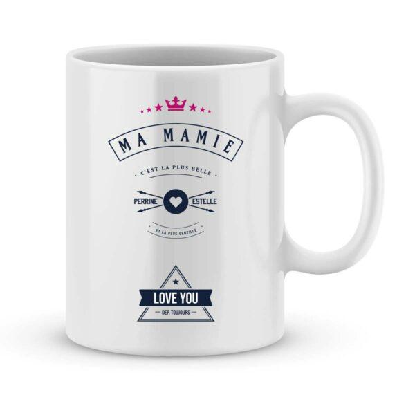 Mug personnalisé avec un prénom Mamie est belle