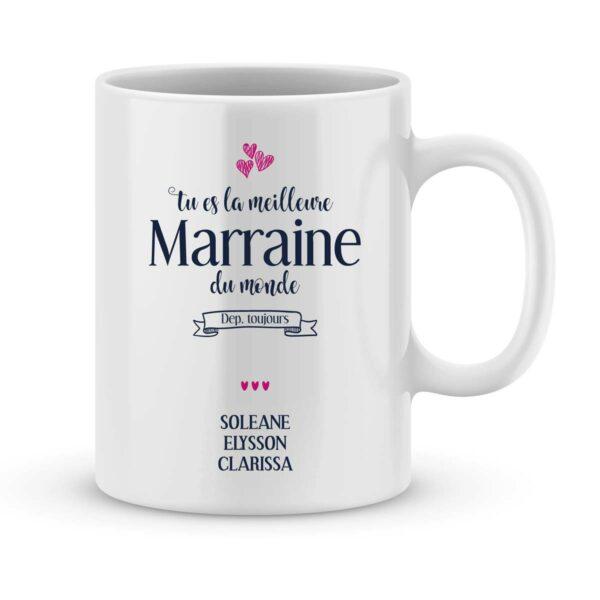 Mug personnalisé avec un prénom meilleure Marraine du monde