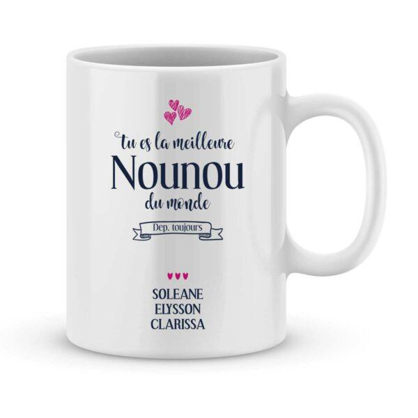 Mug personnalisé avec un prénom meilleure nounou du monde