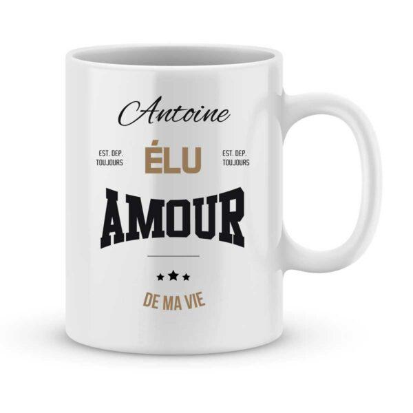 Mug personnalisé avec un prénom amour de ma vie