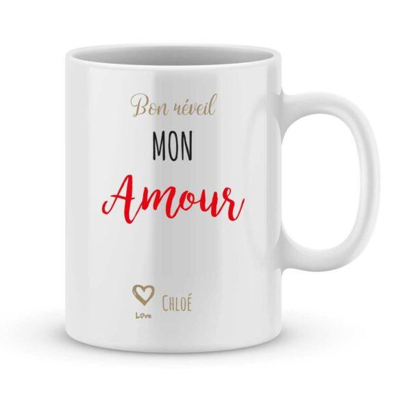 Mug personnalisé avec un prénom bon réveil mon amour