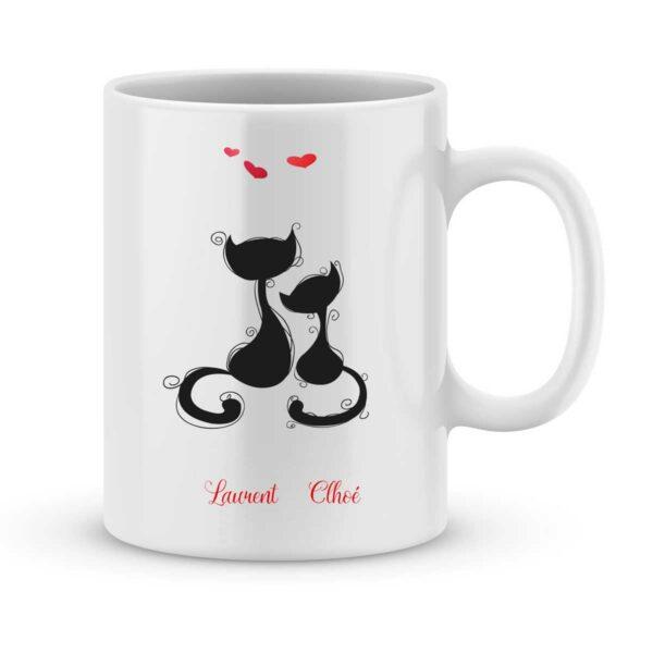 Mug personnalisé avec un prénom chat amoureux