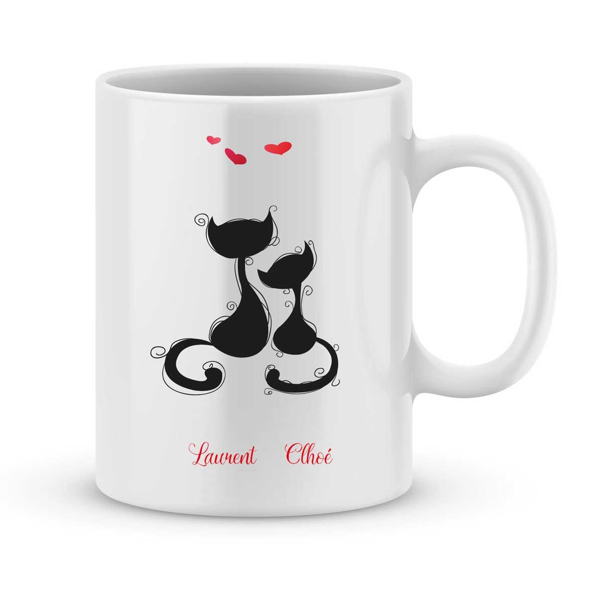 Remarquable Mug personnalisé avec un prénom chat amoureux - Joli Mug CQ-73