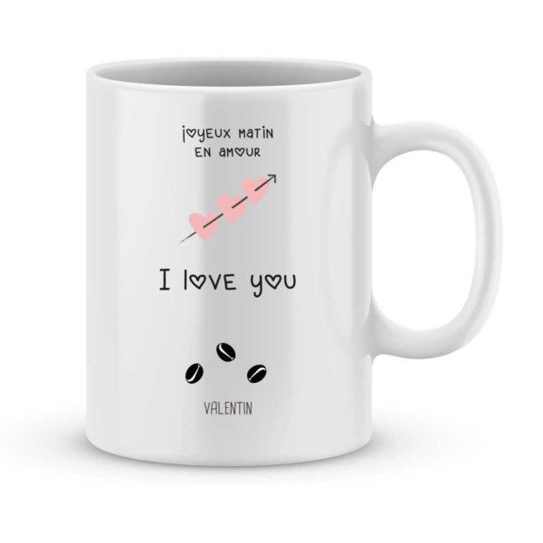 Mug personnalisé avec un prénom joyeux matin en amour