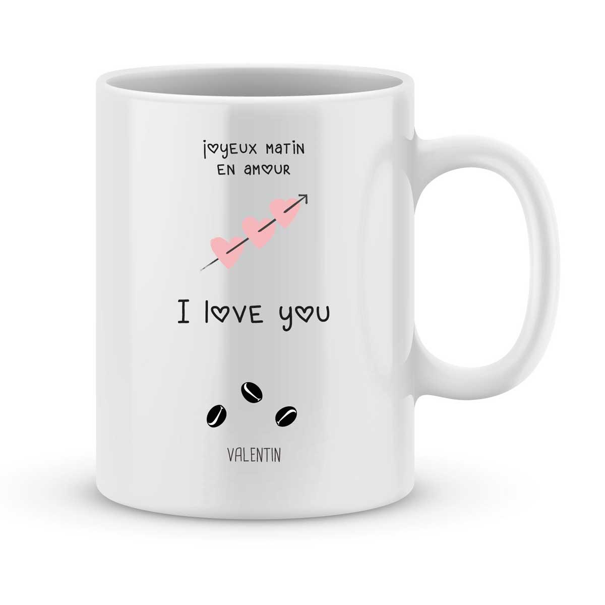 Audacieux Mug personnalisé avec un prénom joyeux matin en amour - Joli Mug FH-33