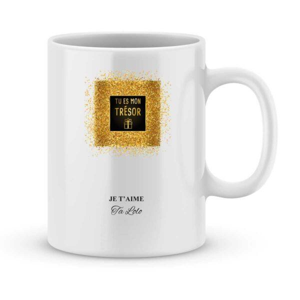 Mug personnalisé avec un prénom tu es mon trésor