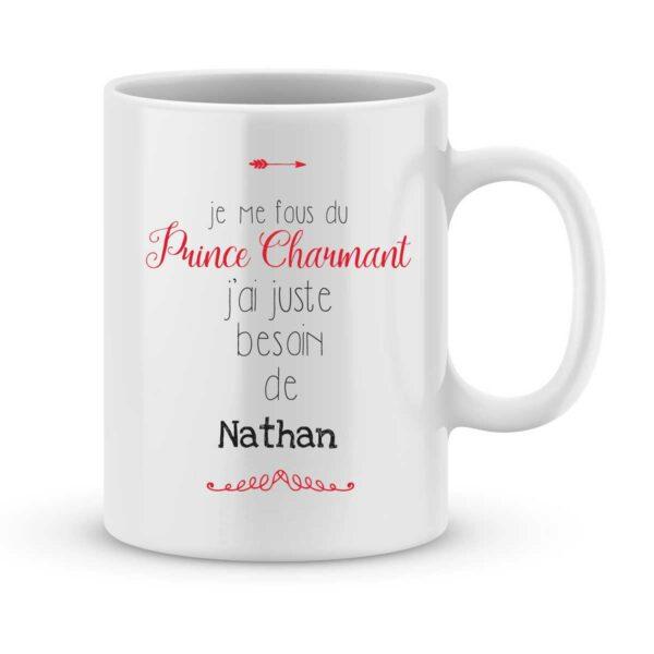 Mug personnalisé avec un prénom prince charmant