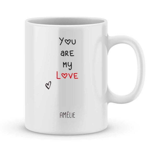 Mug personnalisé avec un prénom you are my love