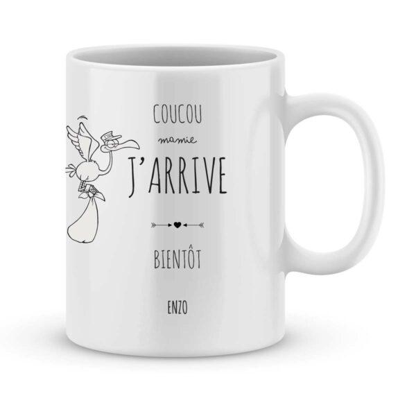 Mug personnalisé avec un prénom coucou mamie