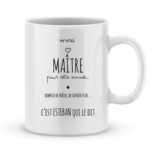 Mug personnalisé avec un prénom merci maître