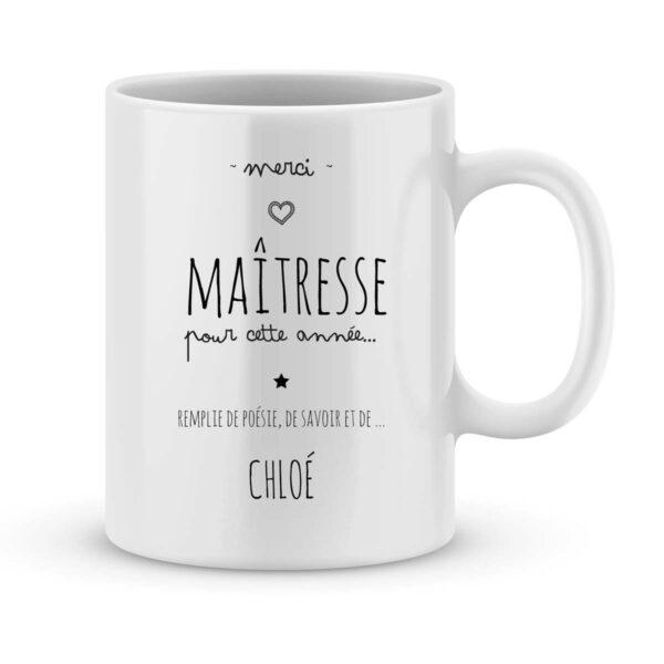 Mug personnalisé avec un prénom merci maîtresse