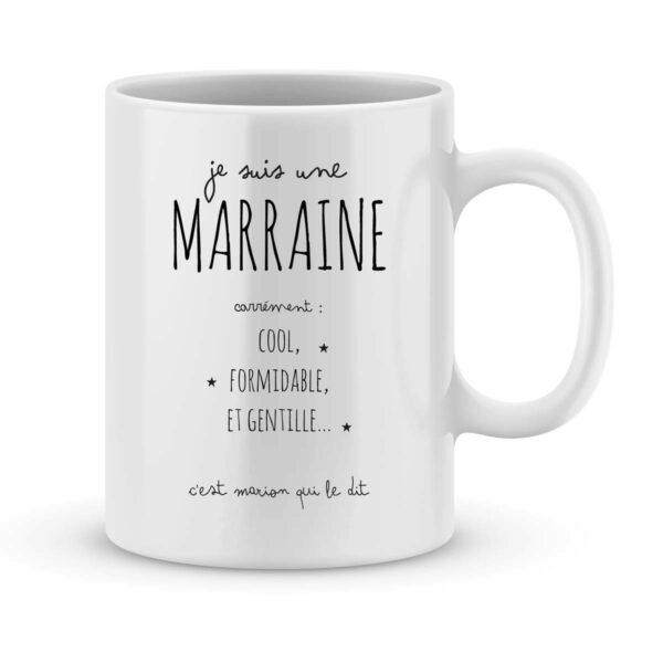 Mug personnalisé avec un prénom Marraine carrément cool