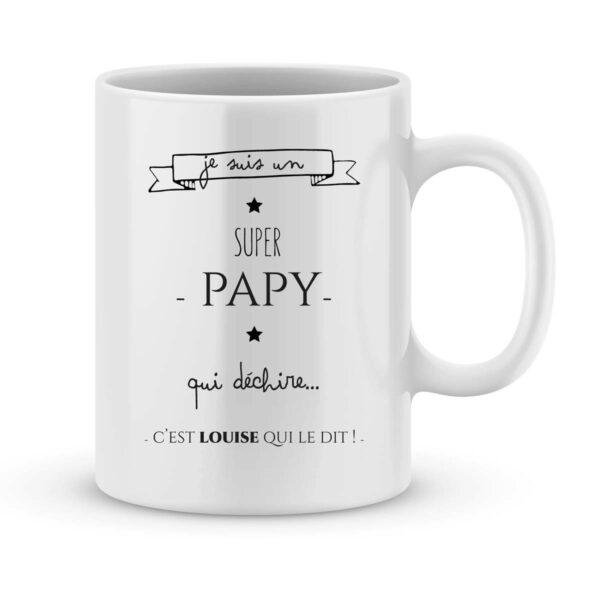 Mug personnalisé avec un prénom papy qui déchire