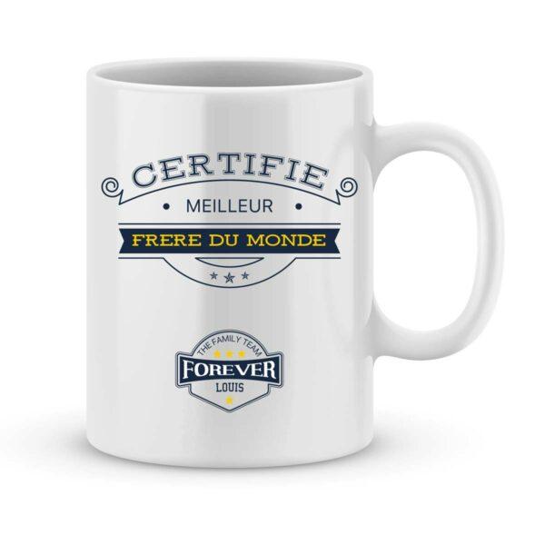 Mug personnalisé avec un prénom certifié meilleur frère