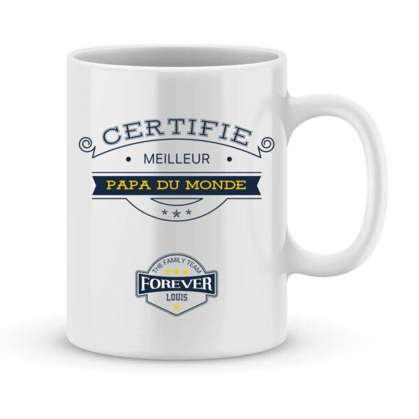 Mug personnalisé avec un prénom certifié meilleur papa
