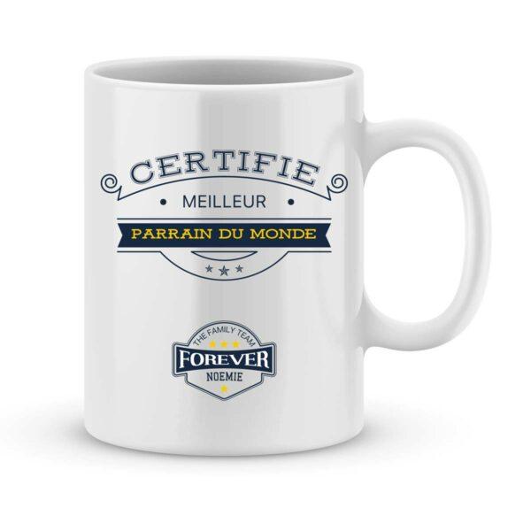 Mug personnalisé avec un prénom certifié meilleur parrain