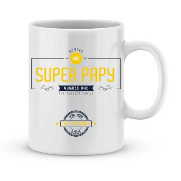 Mug personnalisé avec un prénom number one papy