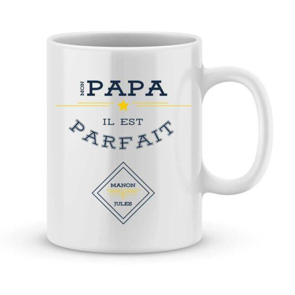 Mug personnalisé avec un prénom mon papa est parfait