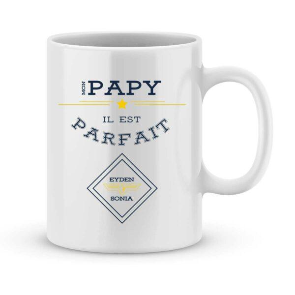 Mug personnalisé avec un prénom papy parfait