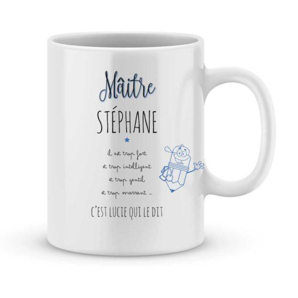 Mug personnalisé avec un prénom mon maître est trop fort