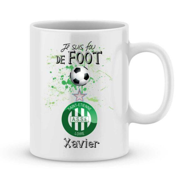 Mug personnalisé avec un prénom foot Saint Étienne