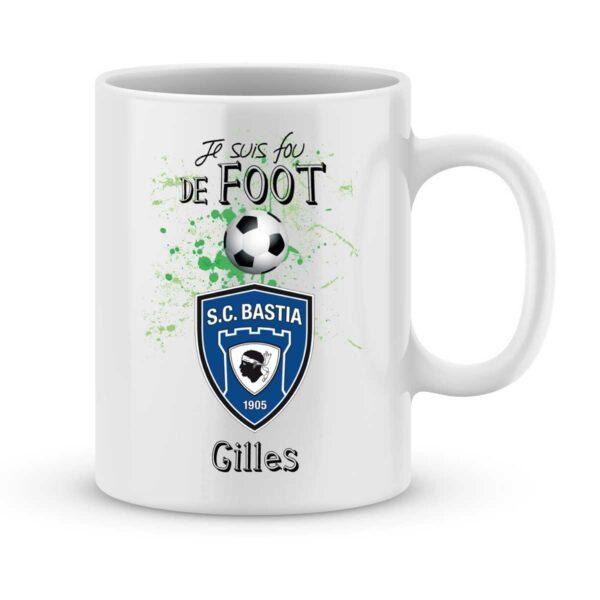Mug personnalisé avec un prénom foot Bastia