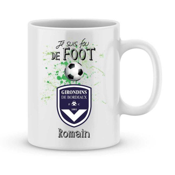 Mug personnalisé avec un prénom foot Bordeaux
