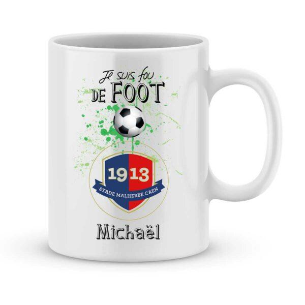 Mug personnalisé avec un prénom foot Caen