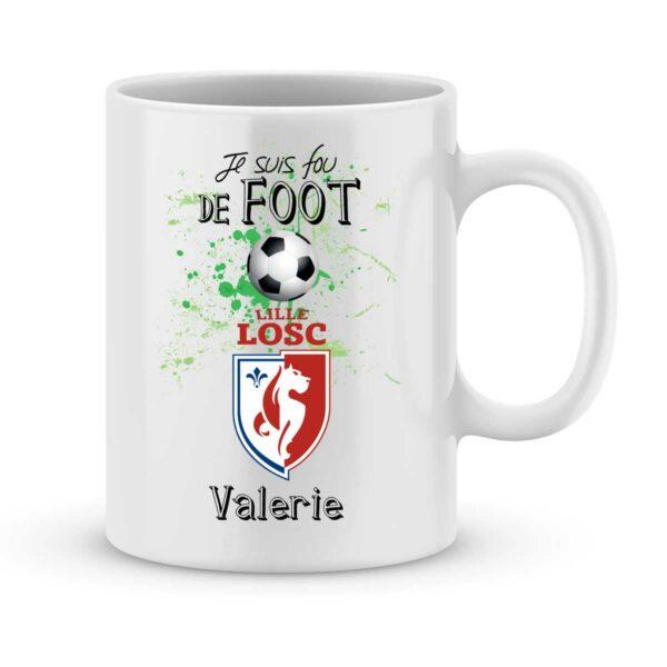 Mug personnalisé avec un prénom foot Lille