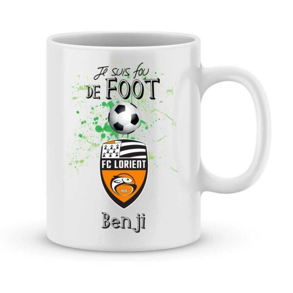 Mug personnalisé avec un prénom foot Lorient