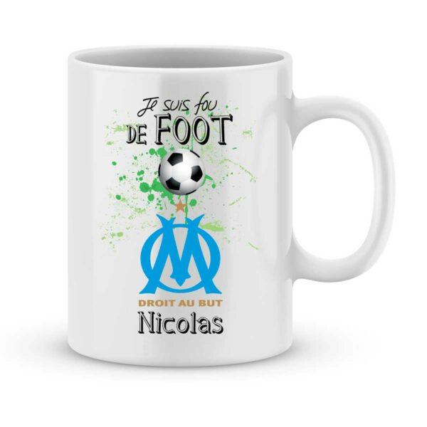 Mug personnalisé avec un prénom foot Marseille
