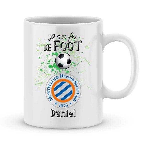 Mug personnalisé avec un prénom foot Montpellier