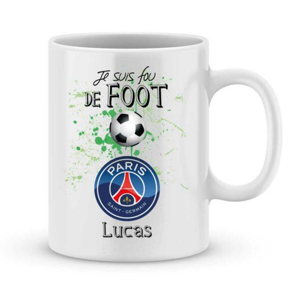 Mug personnalisé avec un prénom foot PSG