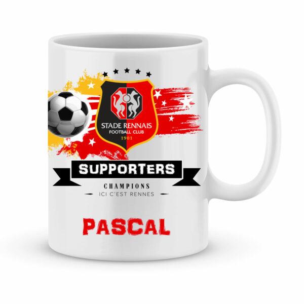 Mug personnalisé avec un prénom foot Rennes