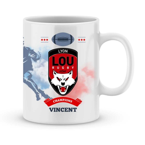 Mug personnalisé rugby top 14 Lyon Olympique Universitaire Rugby
