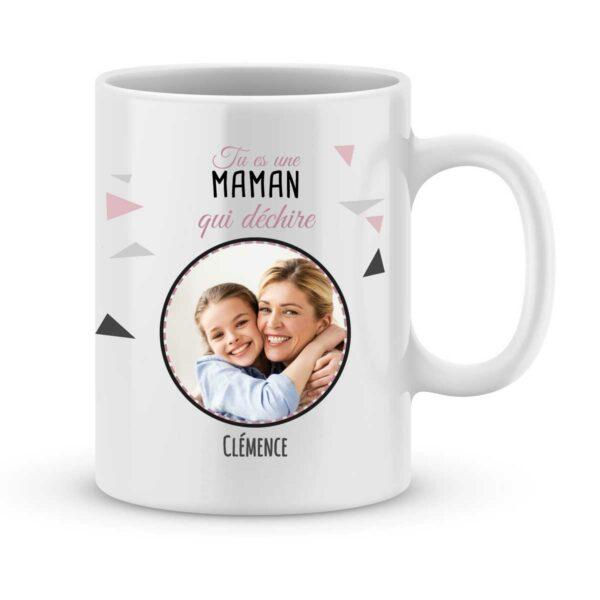 Mug personnalisé avec prénom et photo maman qui déchire