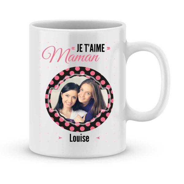 Mug personnalisé avec prénom et photo je t'aime maman