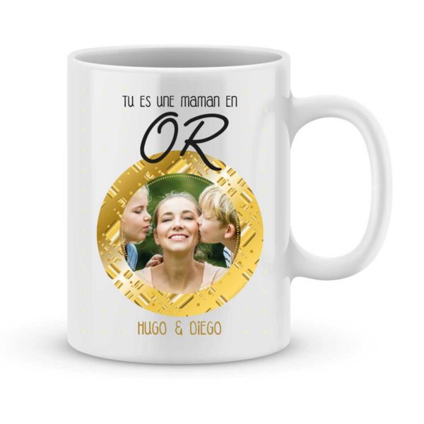 Mug personnalisé avec prénom et photo maman en or
