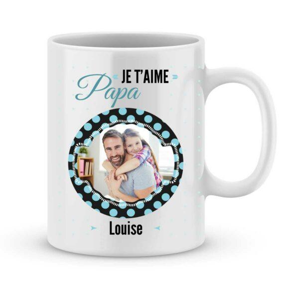 Mug personnalisé avec prénom et photo je t'aime papa