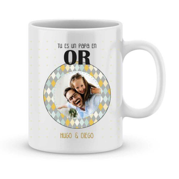 Idée cadeau fête des pères - Mug personnalisé photo papa en or