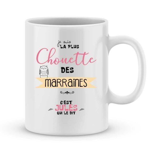 Mug personnalisé avec un prénom la plus chouette des marraines