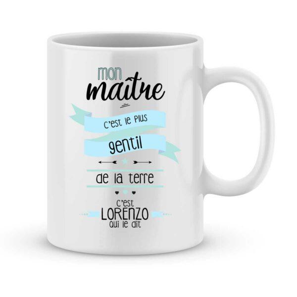 Mug personnalisé avec un prénom mon maître est gentil