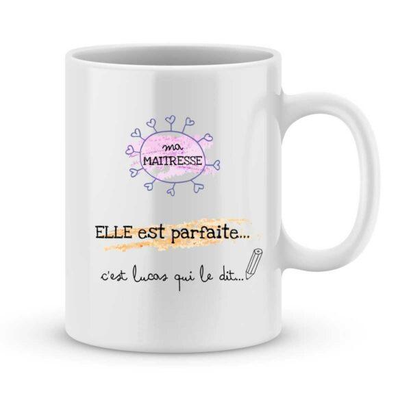 Mug personnalisé avec un prénom maîtresse parfaite