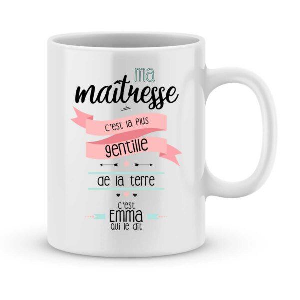 Mug personnalisé avec un prénom ma maîtresse est gentille