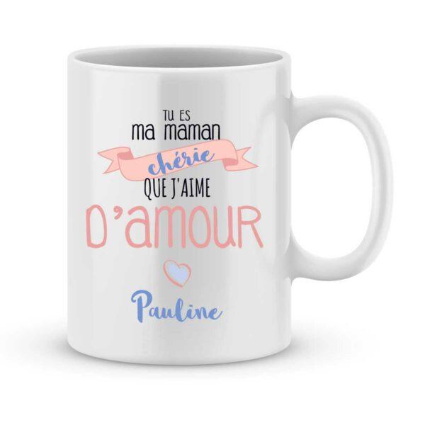 Mug personnalisé avec un prénom maman chérie d'amour