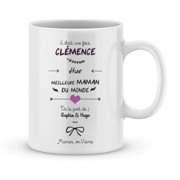Mug personnalisé avec un prénom élue meilleure maman
